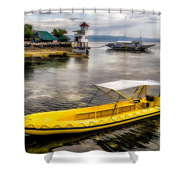 Yellow Tour Boat Shower Curtain