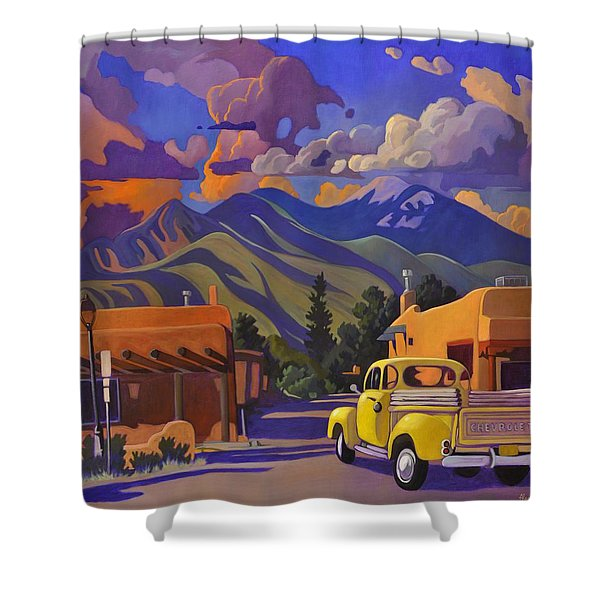 A Yellow Truck In Taos Shower Curtain