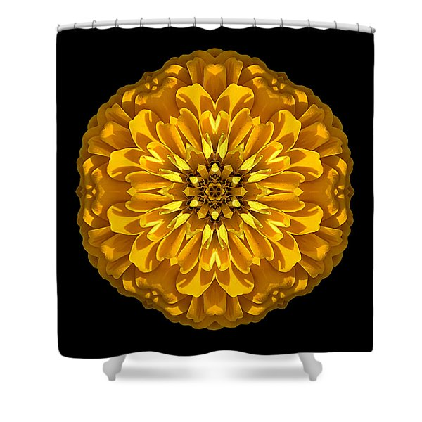 Yellow Zinnia Elegans Flower Mandala Shower Curtain