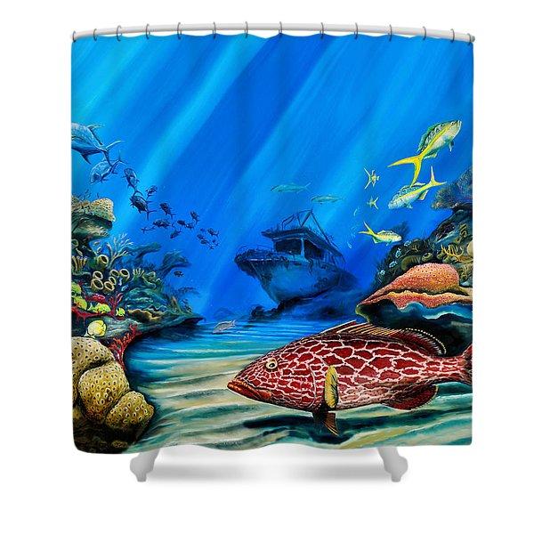 Yellowfin Grouper Wreck Shower Curtain