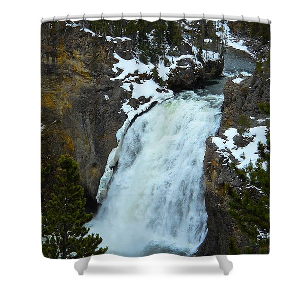 Yellowstone Upper Falls In Spring Shower Curtain