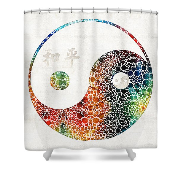 Yin And Yang - Colorful Peace - By Sharon Cummings Shower Curtain