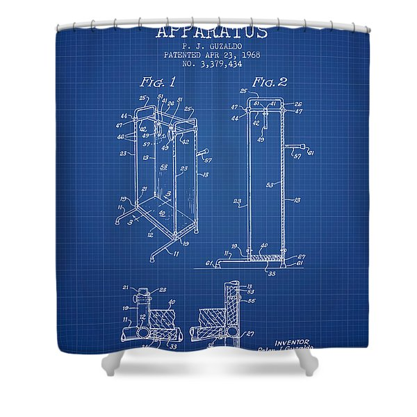 Yoga Exercising Apparatus Patent From 1968 - Blueprint Shower Curtain