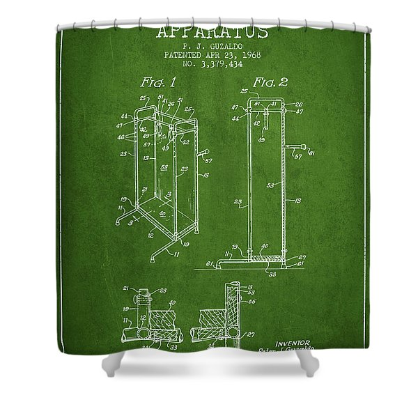 Yoga Exercising Apparatus Patent From 1968 - Green Shower Curtain