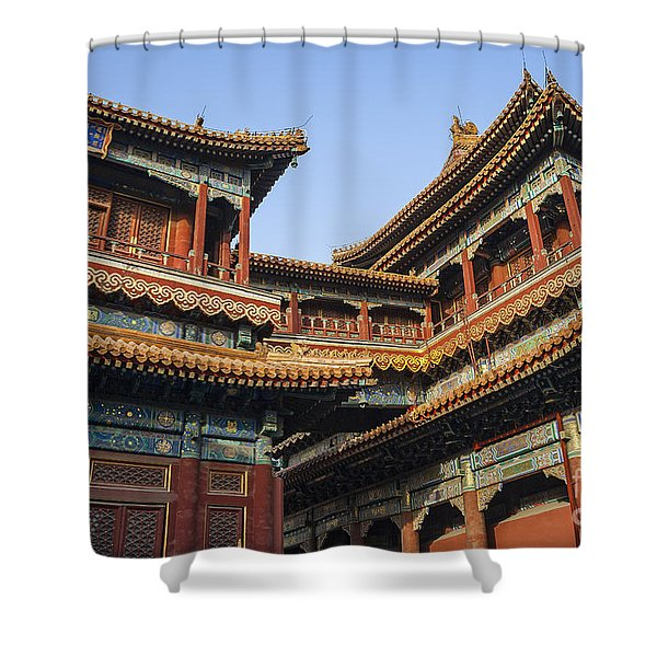 Shower Curtain featuring the photograph Yonghe Temple Aka Lama Temple In China by Bryan Mullennix