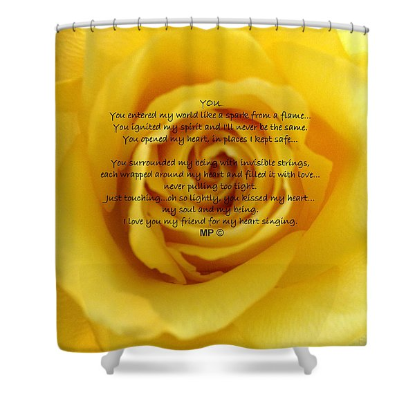 You Poem On Yellow Rose Shower Curtain