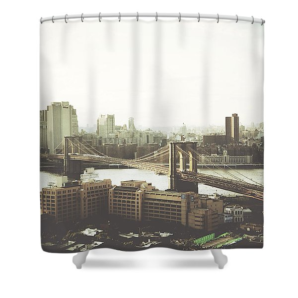 You'll Miss Her Most When You Roam ... Cause You'll Think Of Her And Think Of Home ... The Good Old Brooklyn Bridge Shower Curtain
