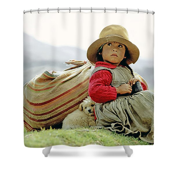 Young Girl In Peru Shower Curtain