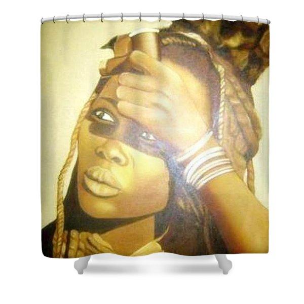 Young Himba Girl - Original Artwork Shower Curtain