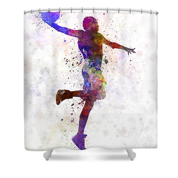 Young Man Basketball Player One Hand Slam Dunk Shower Curtain
