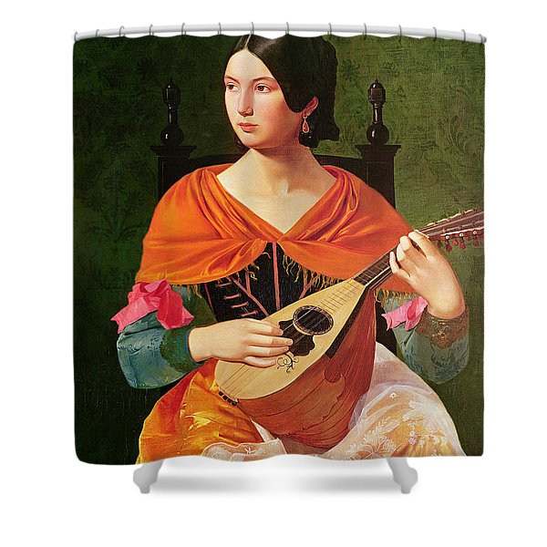 Young Woman With A Mandolin Shower Curtain