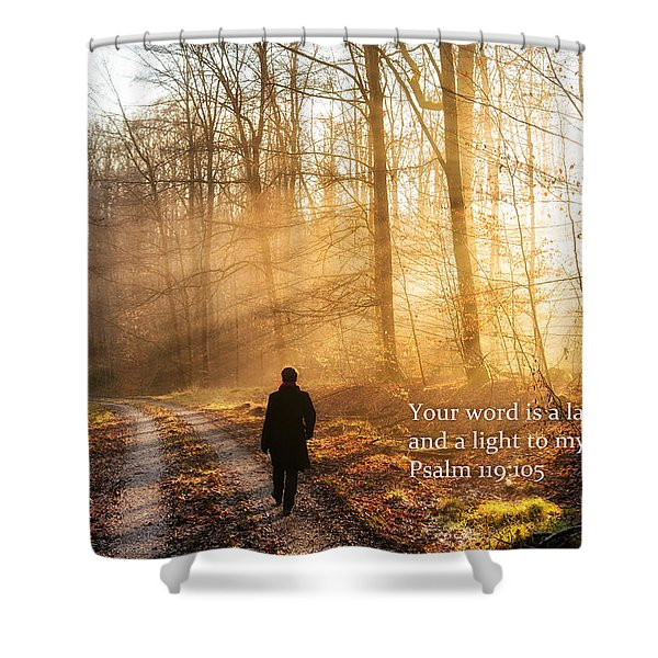 Your Word Is A Light To My Path Bible Verse Quote Shower Curtain