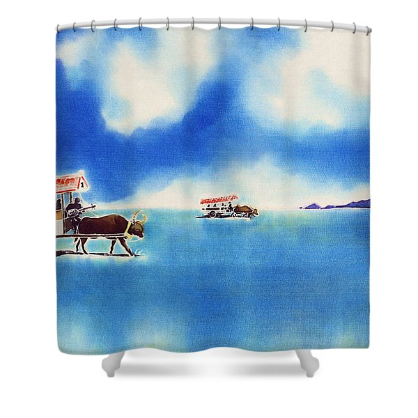 Yubu Island-water Buffalo Taxi  Shower Curtain