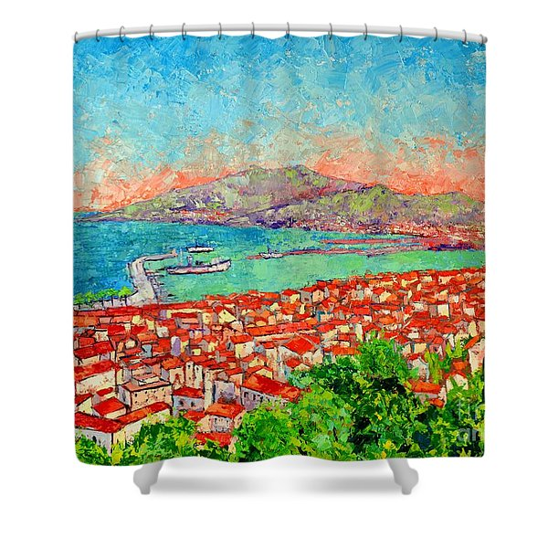 Zakynthos Sunset Light View From Bohali Hill Shower Curtain
