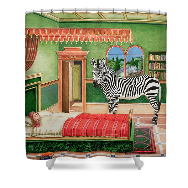 Zebra In A Bedroom, 1996 Shower Curtain