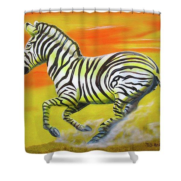 Zebra Kicking Up Dust Shower Curtain
