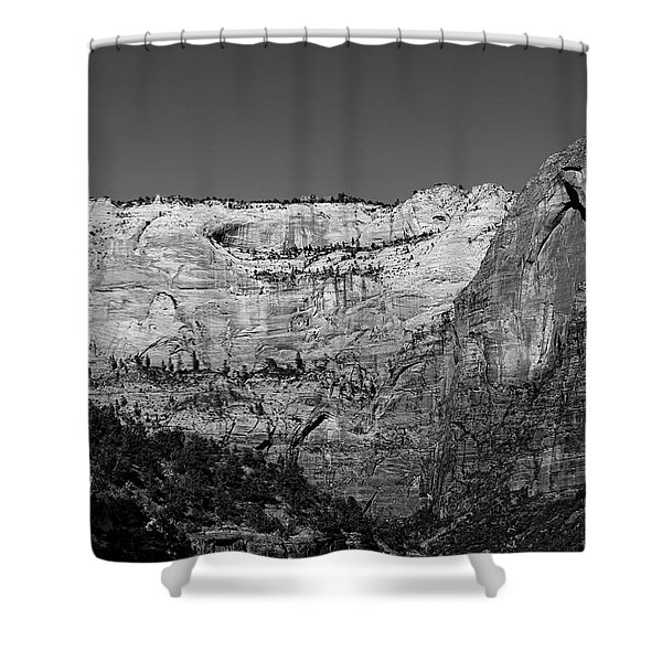 Shower Curtain featuring the photograph Zion Cliff And Arch B W by Jemmy Archer