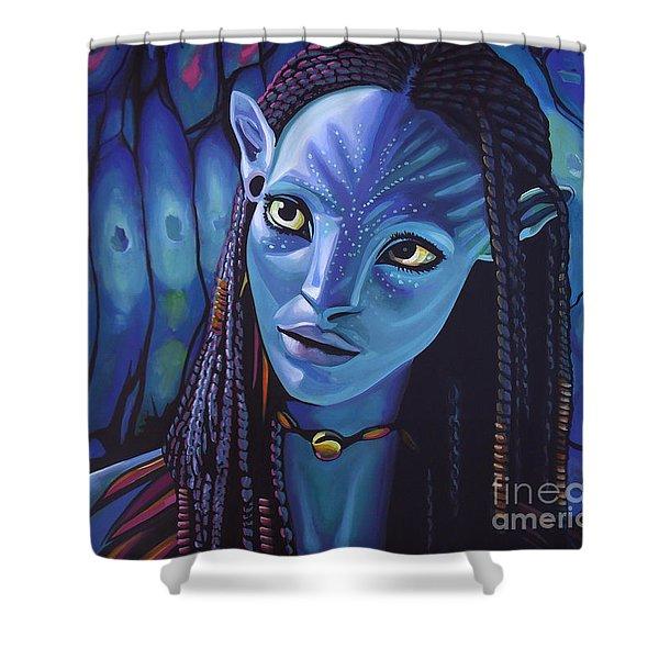 Zoe Saldana As Neytiri In Avatar Shower Curtain