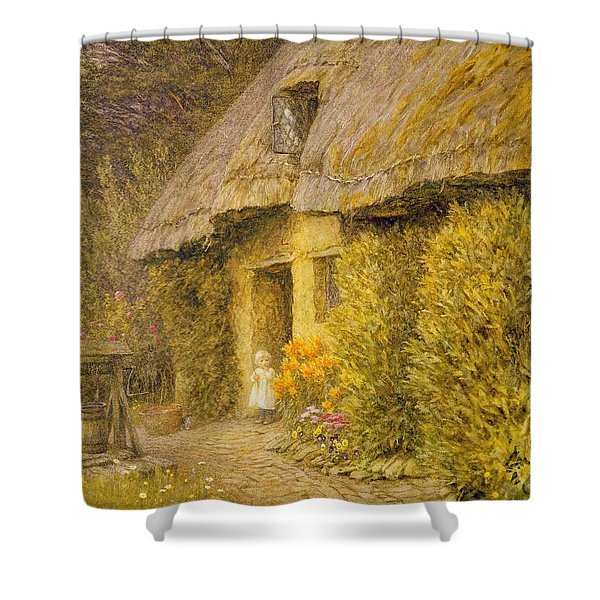 A Child At The Doorway Of A Thatched Cottage  Shower Curtain