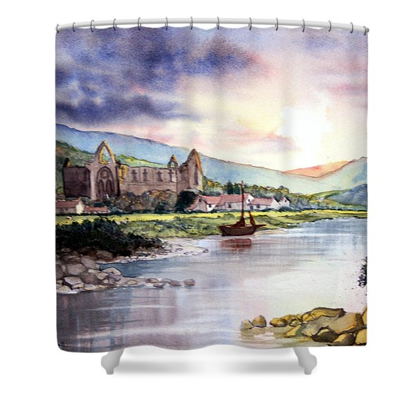 Late Evening At Tintern Abbey Shower Curtain