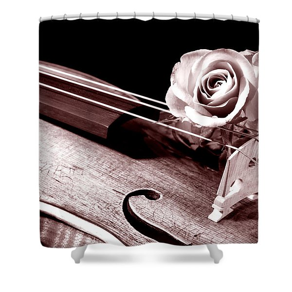 Rose Violin Viola Shower Curtain