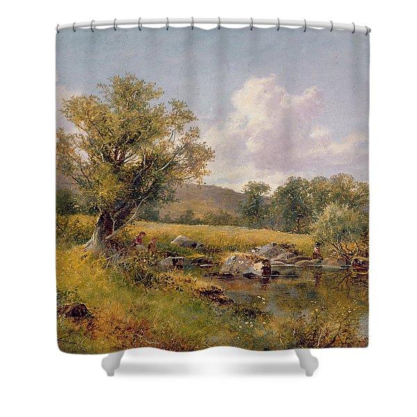 A River Landscape Shower Curtain