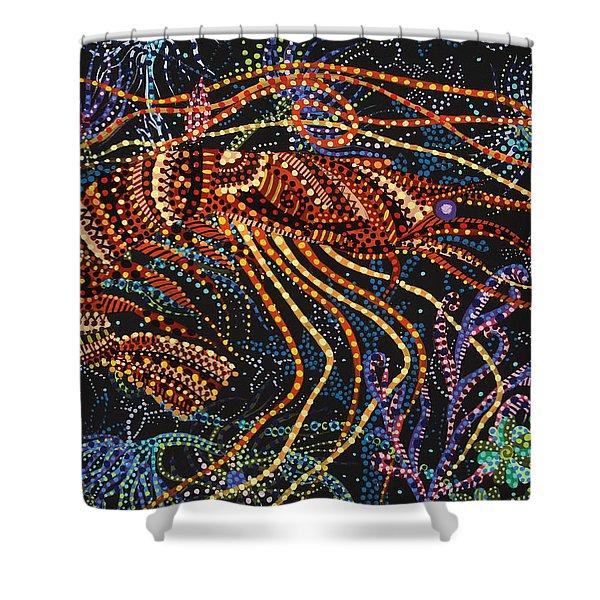 A Shrimp Shower Curtain by Erika Pochybova