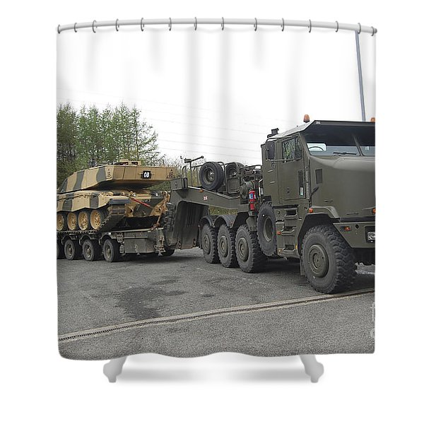 A Tank Transporter Hauling A Challenger Shower Curtain