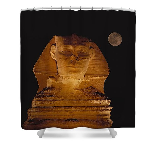 A View Of The Great Sphinx At Night Shower Curtain