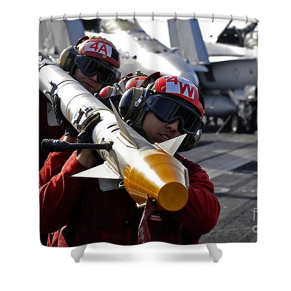 Aviation Ordnancemen Carry An Shower Curtain