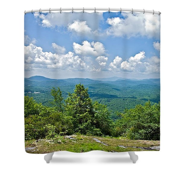Distant Mountain View With Clouds Shower Curtain
