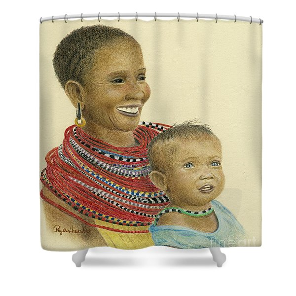 Masai Mom And Babe Shower Curtain