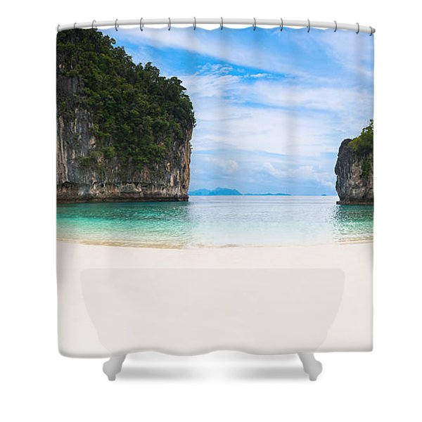 White Sandy Beach In Thailand Shower Curtain