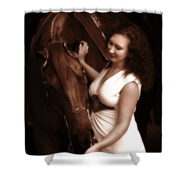 Woman And Horse Shower Curtain