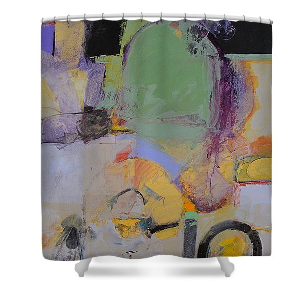 Shower Curtain featuring the painting 10th Street Bass Hole by Cliff Spohn