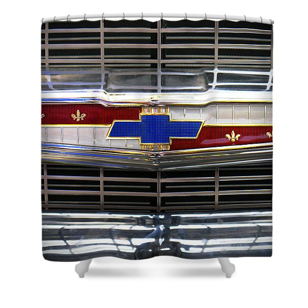 1956 Chevrolet Grill Emblem Shower Curtain