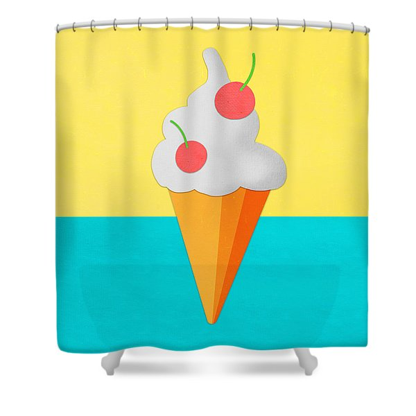 Ice Cream On Hand Made Paper Shower Curtain