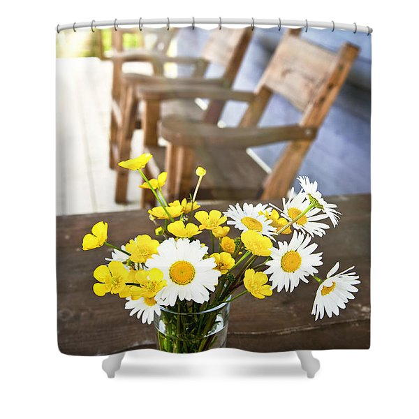 Wildflowers Bouquet At Cottage Shower Curtain