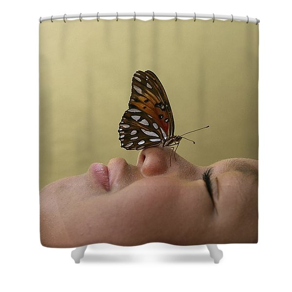A Boy With A Butterfly At Lincolns Shower Curtain