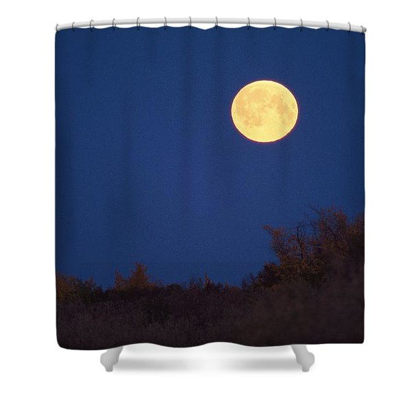 A Full Moon Rises Above The Mackenzie Shower Curtain