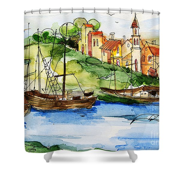 A Little Fisherman's Village Shower Curtain