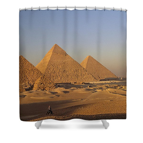 A Man On A Donkey In The Desert Shower Curtain