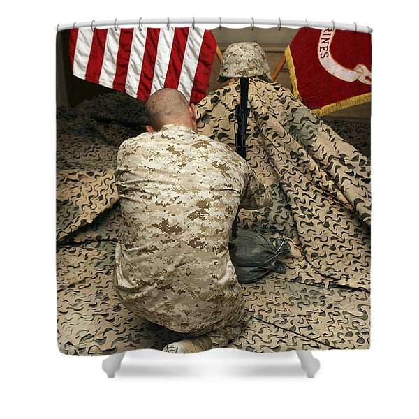 A Marine Kneels Before The Rifle, Boots Shower Curtain