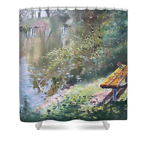 A Rose On The Bench Shower Curtain