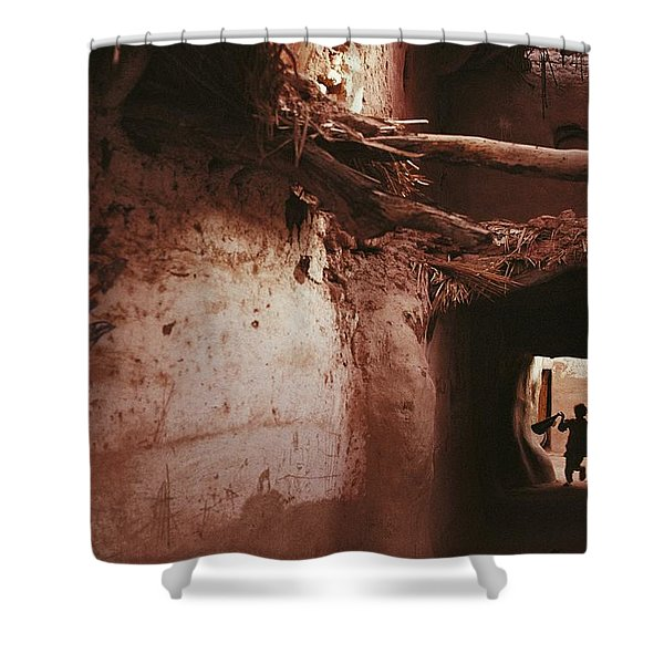 A Silhouetted Child Running Shower Curtain