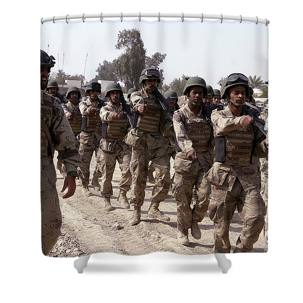 A Soldier Marches His Troops Shower Curtain