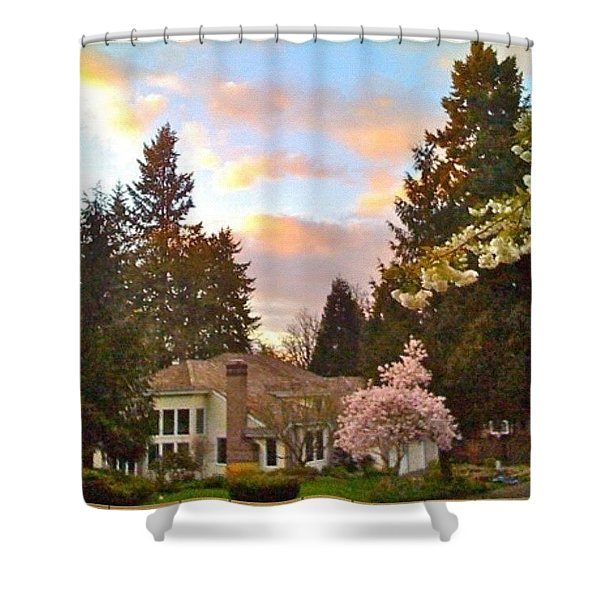 A Spring Evening - Lake Oswego Or Shower Curtain