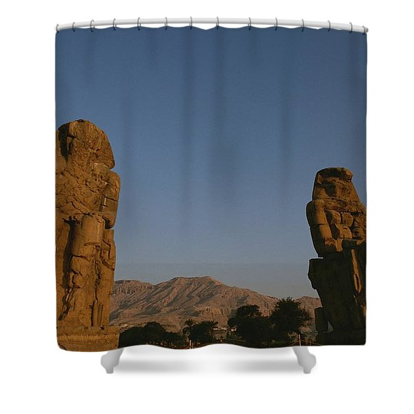 A View Of The Crumbling Colossi Shower Curtain