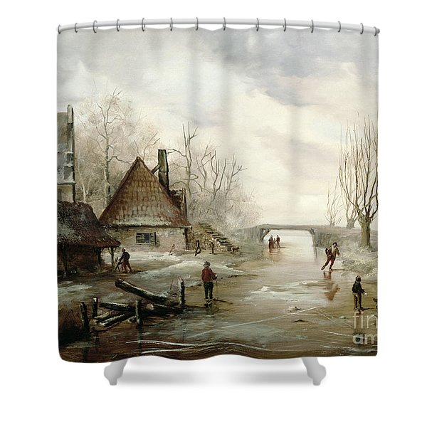 A Winter Landscape With Figures Skating Shower Curtain