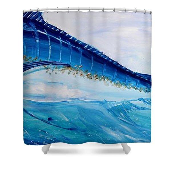 Abstract Marlin Shower Curtain